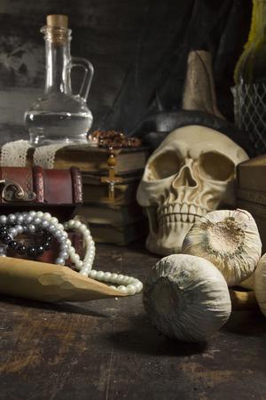 Gothic still life with skull and garlic