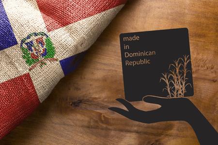 Symbool van de landbouw van de Dominicaanse Republiek - suikerriet, poster gemaakt in de Dominicaanse Republiek. Stockfoto