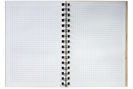 Open notebook with clean sheets in a box Archivio Fotografico