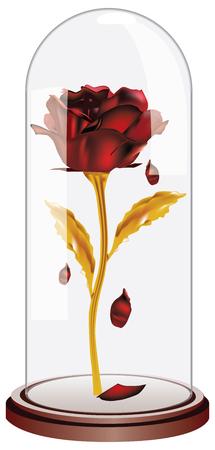 Vallende bloemblaadjes paars rose onder een glazen koepel Stock Illustratie