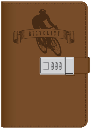 Leather notebook for taking a great interest in cycling Illustration