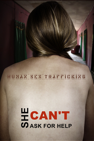 Poster She can not ask for help. Women's back with calls to combat trafficking in human beings