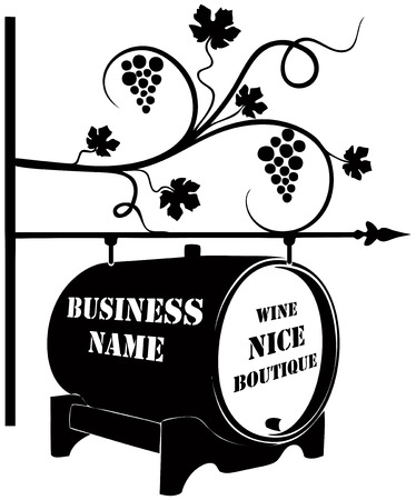 Street pointer for a wine boutique.