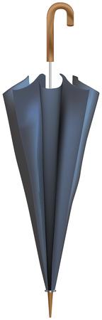Closed classic male umbrella, black umbrella. Vector parasol. Vettoriali