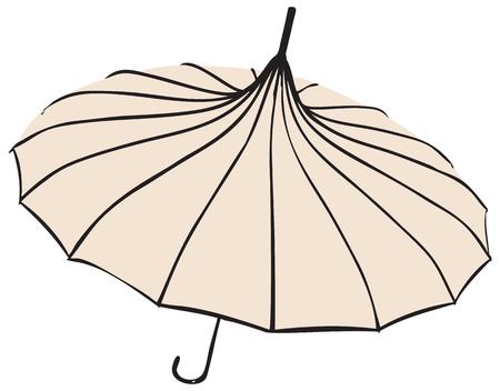 Old fashionable Umbrella - Parasol. The pagoda shape.