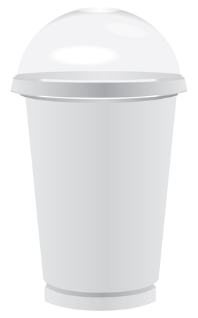 Special disposable glass for coffee with ice. Glass with a lid transparent sphere.