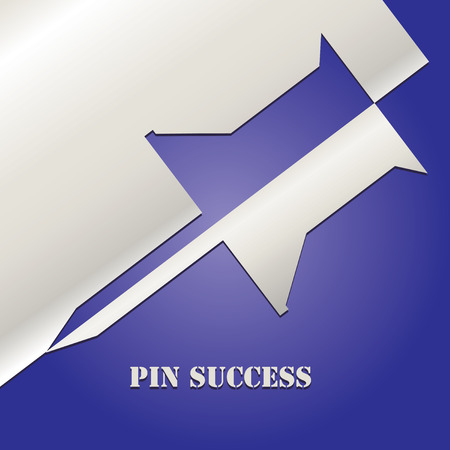 Applicating the pin of success is a symbol of correct positioning in success Çizim