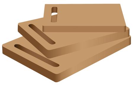 Big set of three wooden cutting board