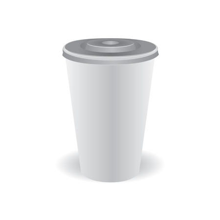 Plastic cup of coffee with a lid. The shadow falls from the glass
