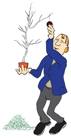 A man parses a Christmas tree with crumbling needles, after a Mew Year. Illustration