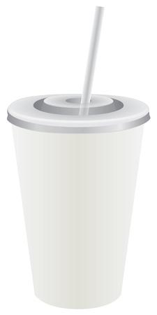 Blanc jetable tasse en plastique avec couvercle et paille Banque d'images - 93342405