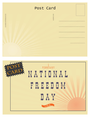 Old postcard. Day of national freedom. Turnover and the front of the card for the celebration of National Freedom Day in the United States