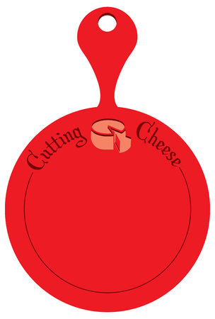 A modern cutting board for cutting cheese. Round kitchen board of red color.