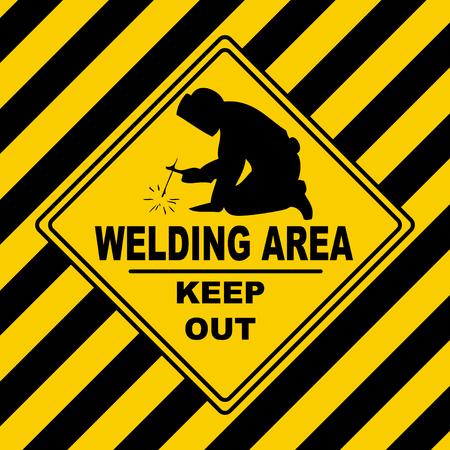 Welding area - danger construction area keep out 일러스트