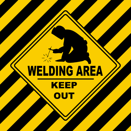 Welding area - danger construction area keep out Vettoriali