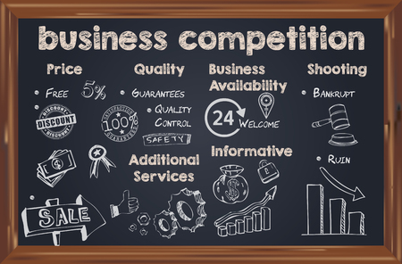 On the blackboard for chalk the list of topics for business competition.