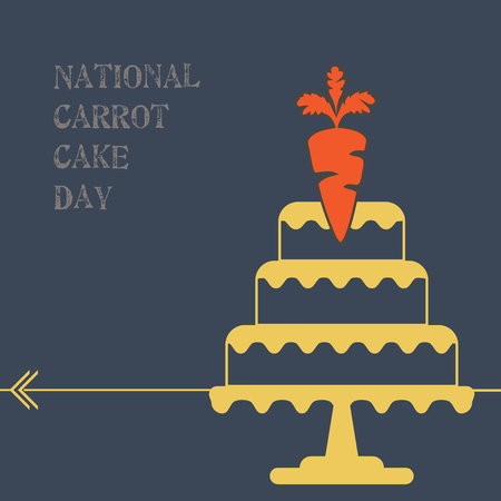 Stylish poster for National Carrot Cake Day. Иллюстрация