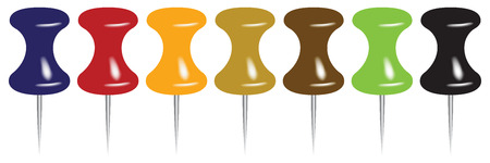 A set of modern classic multi-colored pins. Vector illustration.