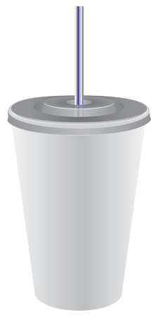 Tube en plastique dans le couvercle d'un verre jetable Banque d'images - 94469270