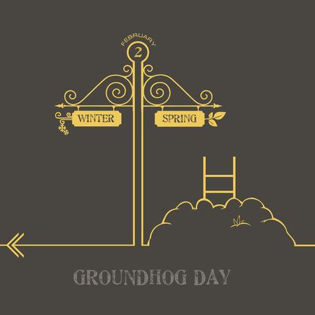 Creatief met de feestdag Groundhog Day en een aanwijzer naar de winter en de lente