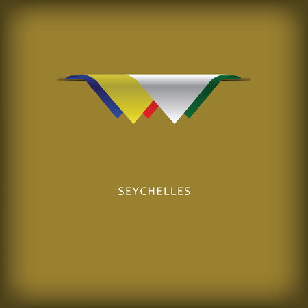 The combination of colors of the national flag Seychelles. Иллюстрация