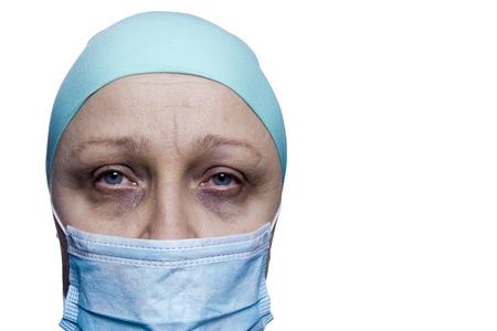 Retrato de un paciente de cáncer sobre un fondo blanco Foto de archivo - 95044377