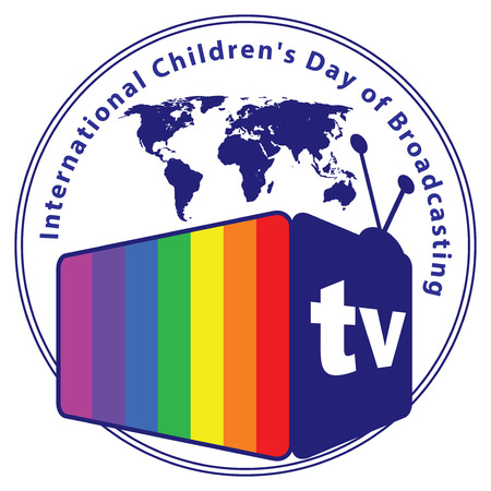 Color label International Childrens Day of Broadcasting Ilustração