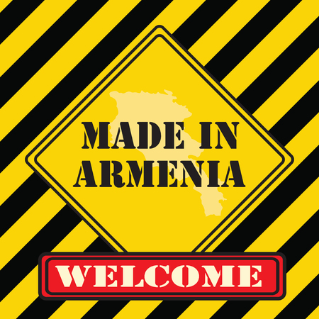 Welcome, an industrial symbol made in Armenia. Vector illustration.