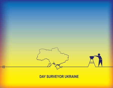 Day surveyor Ukraine - Calendar holiday on March 10, vector illustration with man and map silhouette on blue and yellow background. Stock Illustratie