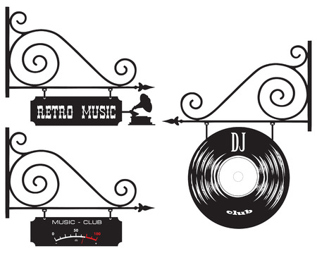 Street signs in the old style of DJ club and retro music Illustration