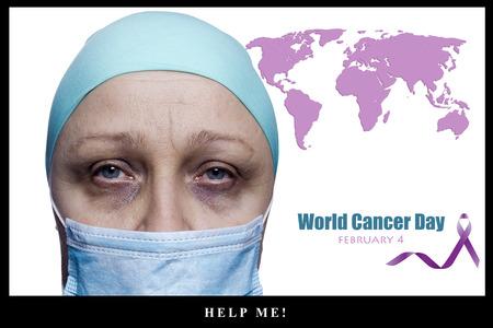 Cartel del Día Mundial del Cáncer - 4 de febrero - ¡Ayúdame! Foto de archivo - 95910156