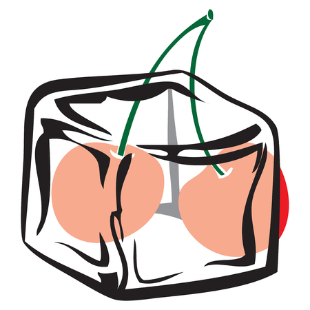 Frozen product, ice cube with cherry. Vector illustration.