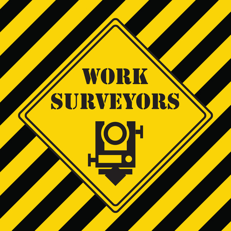 Industrial symbol for a surveyor with yellow-black markings
