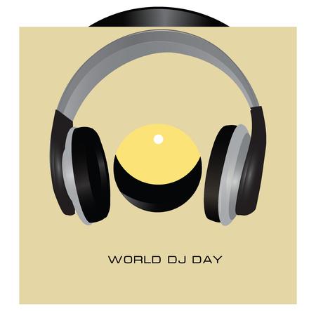 Gramophone in envelope and headphones to world dj day Stock Illustratie