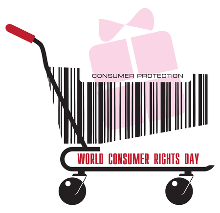 A trolley from the store with a gift for the day of World Consumer Rights Day
