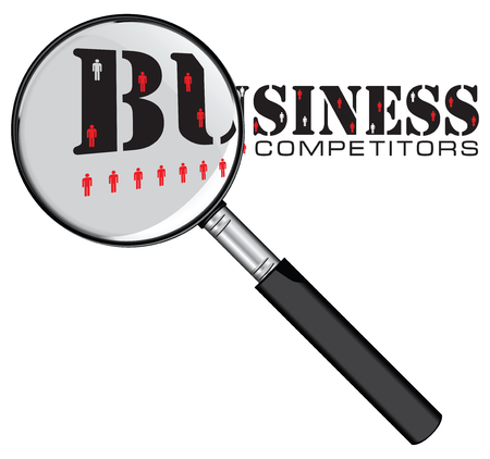 Magnifying glass is a metaphor for finding competitors in business Ilustracja