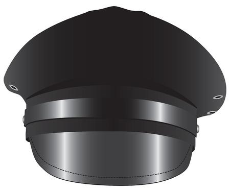 Black Chauffeur Limo driver costume hat. Vector illustration. Illustration
