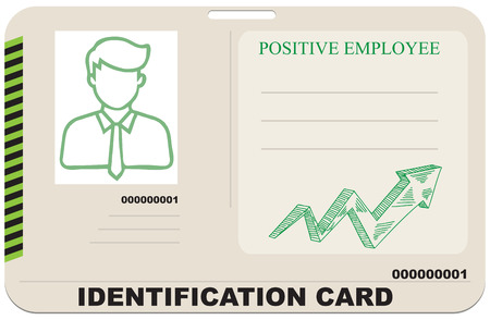 Identification card for a positive employee. Vector illustration.