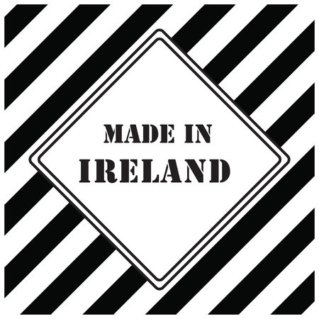 industrial symbol with text made in ireland in black and white Vector illustration. Illustration