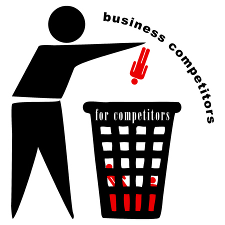 Abstract symbol in business competition - a trash can for Competitors Illustration