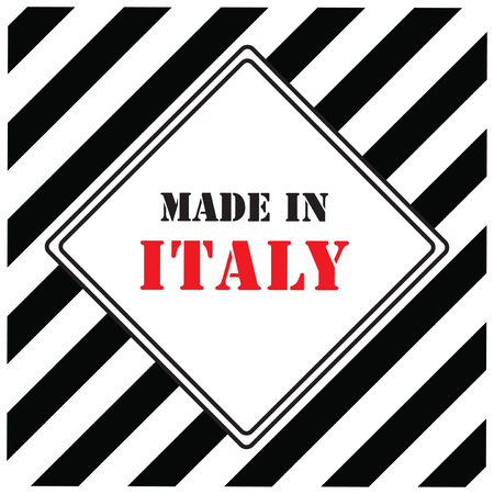 made in italy sign on white and black striped background, Vector illustration.