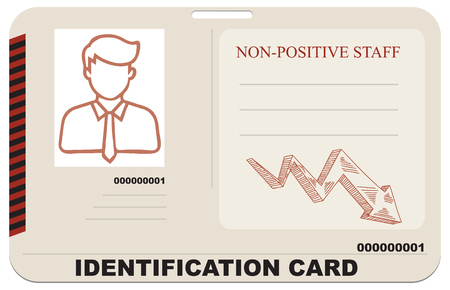ID card for non-positive staff. Vector illustration.