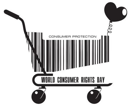 Shopping Cart for World Consumer Rights Day Holiday in March. Çizim