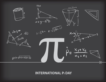 Calendar event of March - International Day of the Number of Pi Vector illustration.