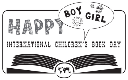 Happy International Childrens Book Day in the form of a stamp