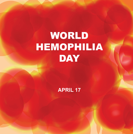 Banner for World Hemophilia Day with imitation of human blood plasma Illustration