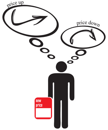 Decision to lower or raise prices. Price selection symbol Stock Illustratie