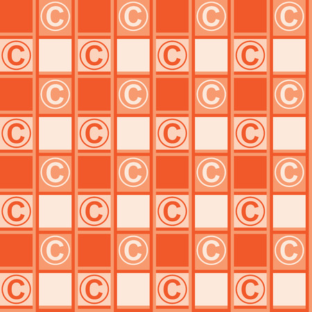 Background with a copyright symbol. Orange background with ornament tablecloths Stock Illustratie