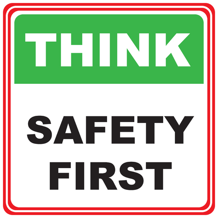 Think about safety. Industrial symbol - think safety first Çizim