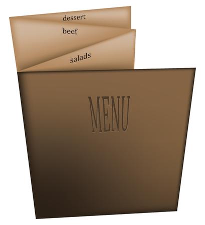 덮개가있는 두꺼운 종이에있는 식당의 여러 페이지 메뉴